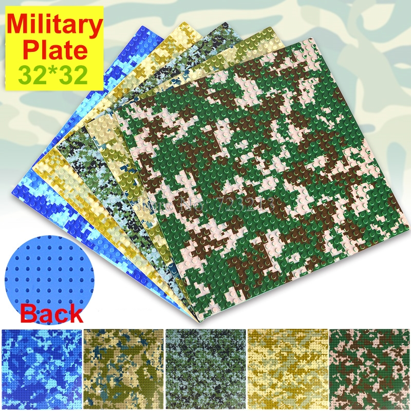 25.6cm Military Legoings 32x32 Bricks SWAT Base Plate Camouflage Camo River Grass MOC Building Blocks Sets Toys For Children