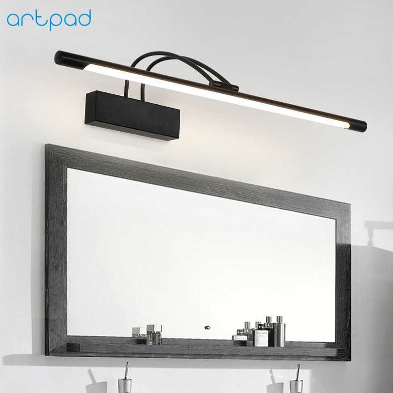 Artpad American 41cm 8W Iron Black Bathroom Wall Light Fixtures Side Mirror Light Retro Lamp Led