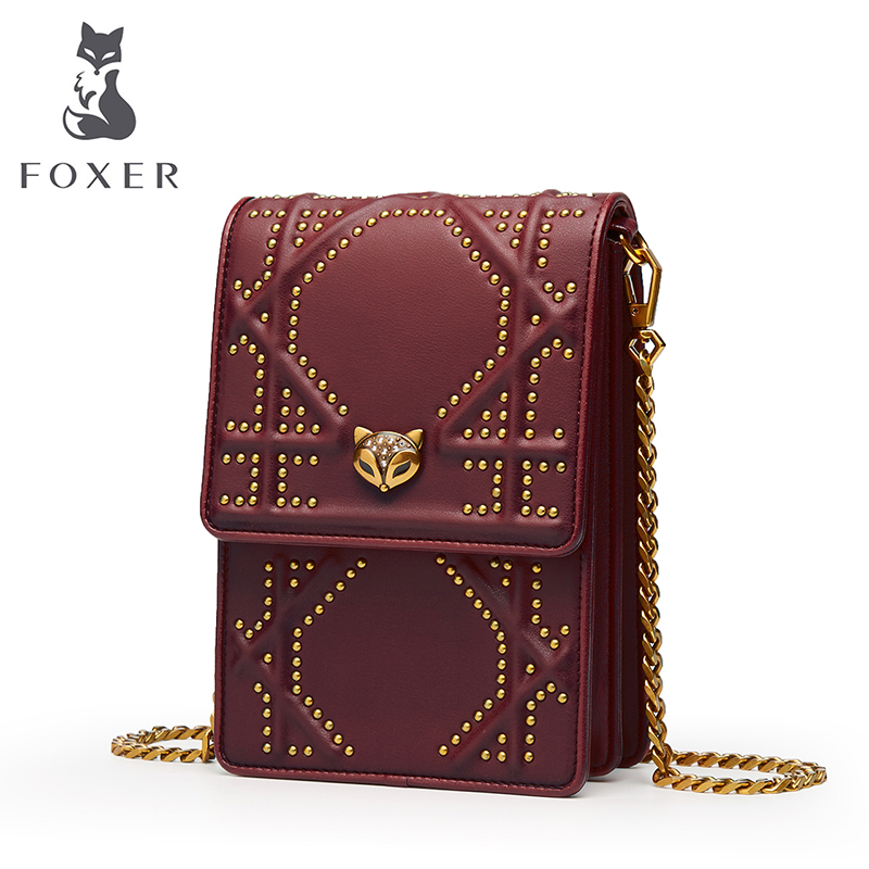FOXER Brand Cowhide Leather Bags For Women Rivet Phone Girls Bag Vintage Shoulder Bag Female Crossbody Bags For Women 2018 NEW black sequins embellished open back lace up top