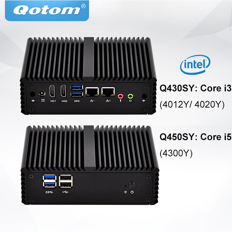 QOTOM Core I3 I5 Mini Desktop Computers 2 Gigabit LAN 2 HD Type Ports Fanless Running 24/7 POS Ternimal Compact Mini PC X86
