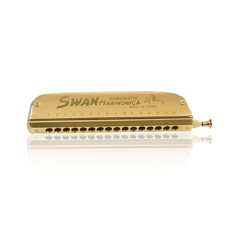 SW1664-5 16 Holes 64 Tones Chromatic Harmonica Gold Color High End Performance Woodwind Instruments Musical Harp Practice Gifts easttop brass chromatic harmonica 16 hole brass abs comb musical instruments mouth organ chromatic slide harmonica good sound