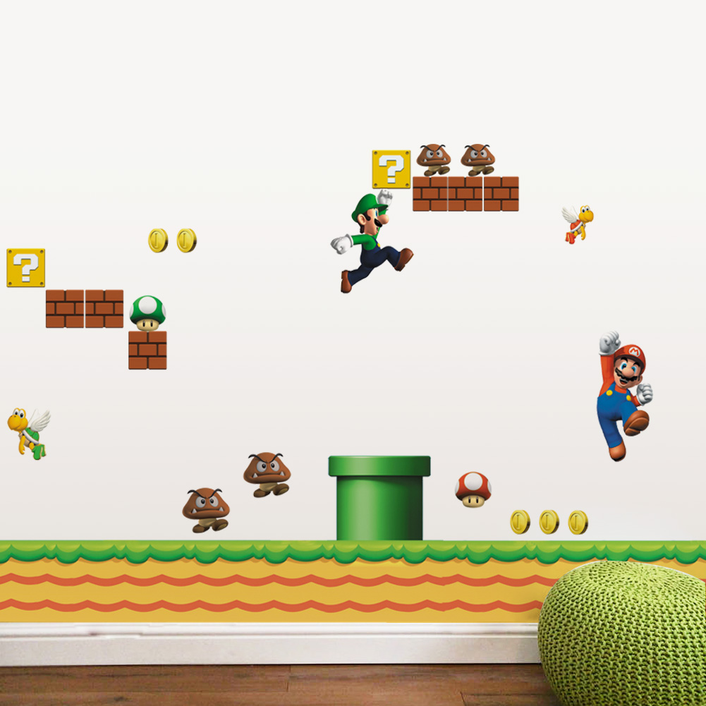 super mario wall stickers for kids room home decor zooyoo