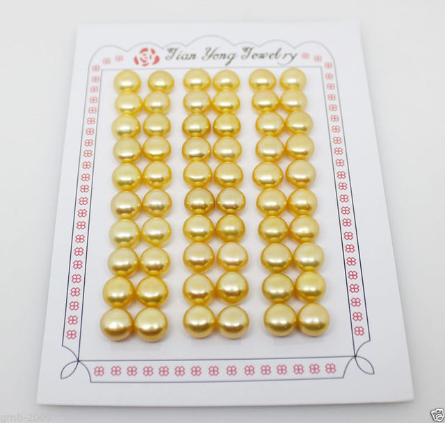 hot sell new - Hot sale new Style >>>>30 Pairs Genuine 7-8mm Yellow Button Pearl For Earring Making Half Drilled Beads