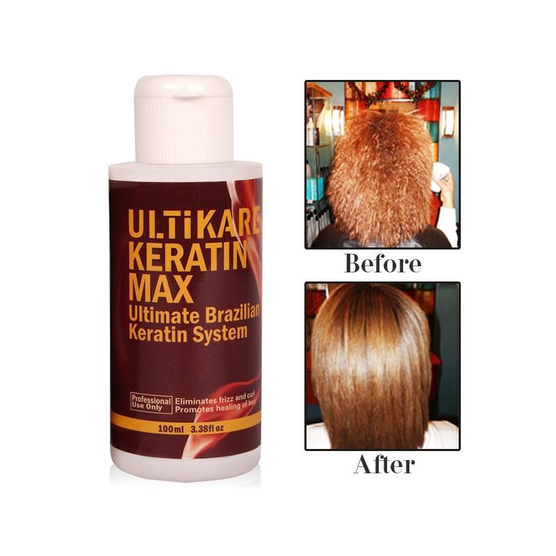 Купить с кэшбэком 100ml 8% Formalin Brazilian Keratin Hair Treatment High Quality +100ml Purifying Shampoo+100ml Free Travel Set