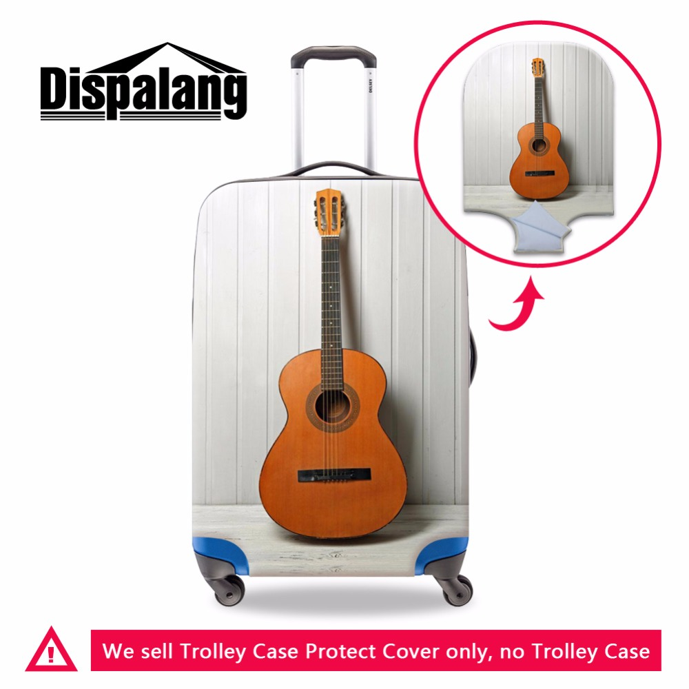 Dispalang Violin Luggage Bag Cover Guitar Print Stretch Suitcase Cover Cute Ballet Elastic Luggage Protective Travel Accessories