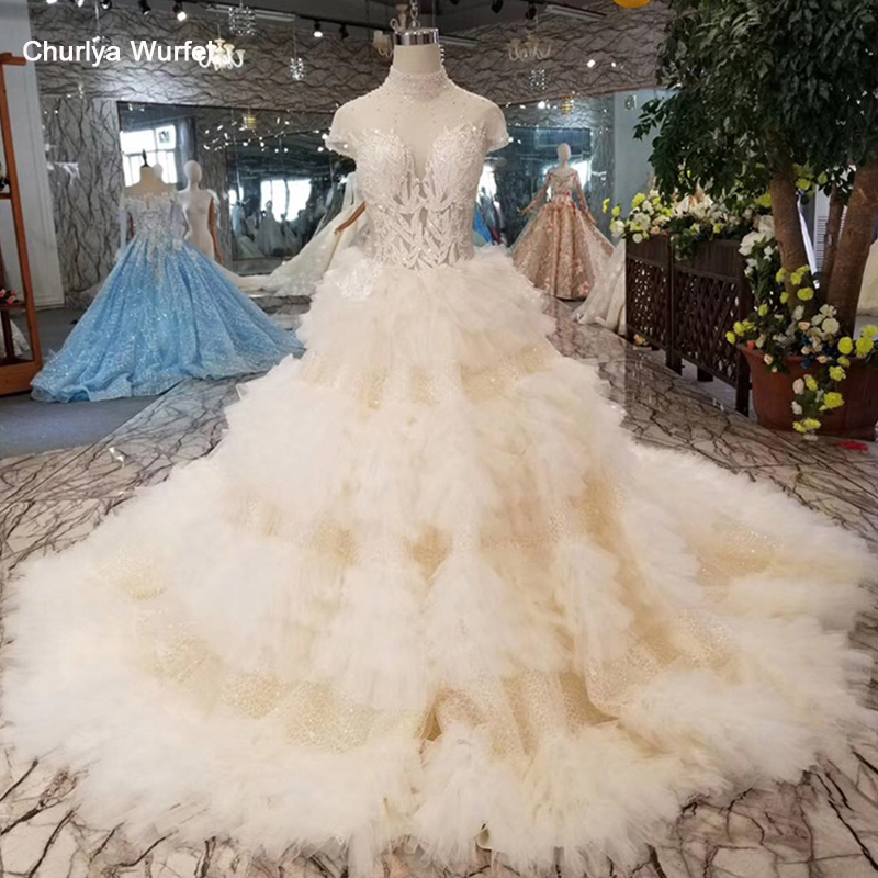 LSS425 ruffle ball gown wedding dresses high neck short sleeves lace up open back bride dress wedding gown cake style mariage