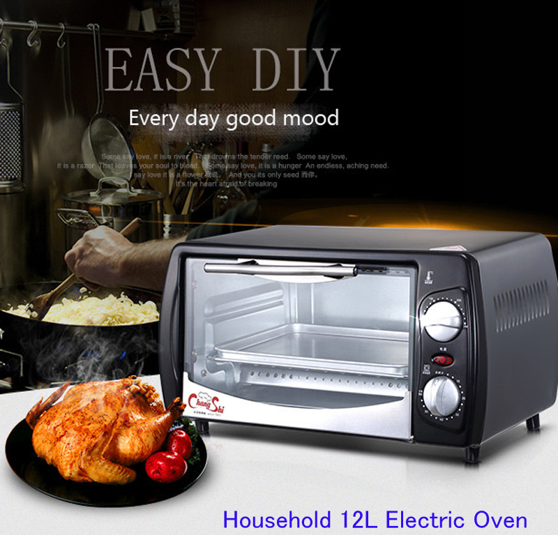 Household 12L Electric Oven Cake Baking Machine Mini Oven Stainless Steel Pizza Toaster Kitchen Appliances CS1201A kitchen appliances household baking mini oven 12l stainless steel housing glass electric oven cake toaster