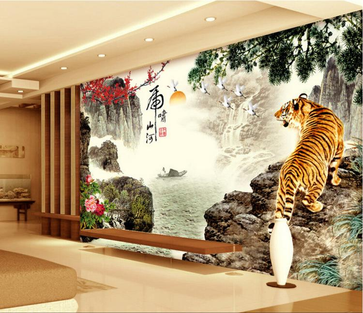 Free Shipping 3D Landscape Painting Wallpaper 3D TV sofa background wall tigers warm living room bedroom animal mural  free shipping pine forest 3d landscape background wall living room bathroom bedroom home decoration wallpaper mural