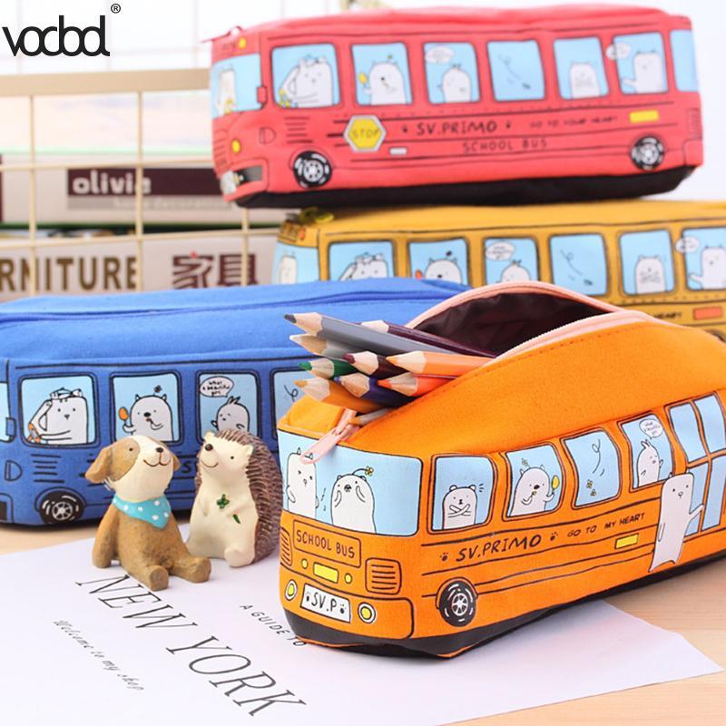VODOOL School Bus Pencil Case For Boys Girl Creative Car Student Canvas Pencil Bag Stationery Pen Bag Supplies Escolar Papelaria