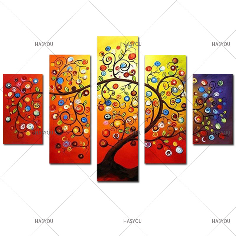 5ps pop art canvas oil painting gold flower colourful landscape picture on the wall home living room decor no frame