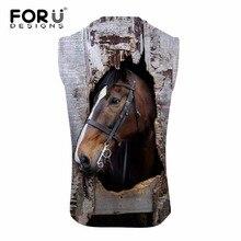 FORUDESIGNS 2017 Summer Animal Clothing Fitness Tank Top Men 3D Horse Printing Bodybuilding Vests Man's Cotton Sleeveless Vest