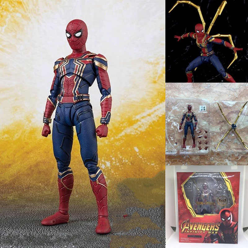 Figuarts Avengers Infinity Guerra Thanos Dottor Strange Iron Man SpiderMan Star Carico Panther Captain America Action Figure