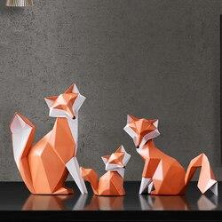 Nórdico moderno abstrato geométrico raposa artesanato ornamentos de desktop criativo para escritório casa decorações resina animal artesanato