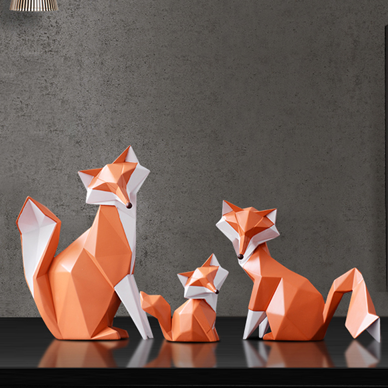 Nordic Modern Abstract Geometric Fox Crafts Desktop Ornaments Creative For Office Home Decorations Animal Resin Crafts