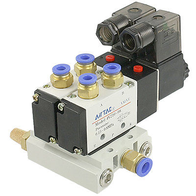 High quality 4V210-08 DC 24V 2 Positions Solenoid Valve Base Quick Fittings Mufflers Set  Free shipping dc 12v 3w 2 positions 5 way magnetic solenoid valve 4v210 08
