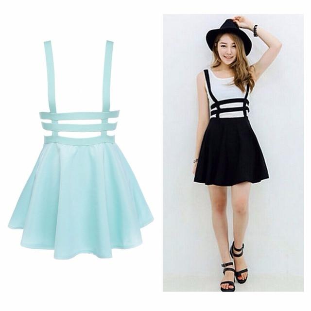 b563860d41197 2016 Retro Hollow Mini Skater Cute Women Suspender Clothes Straps High  Waist Skirt