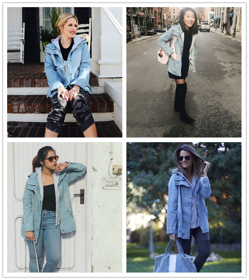 Image 5 - Bella Philosophy 2019 autumn winter Button Up Ladies Denim Women Jacket with Hooded 2 Piece 3XL Female Jean Plus Size Women Coat-in Jackets from Women's Clothing