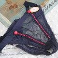 Mujeres sexy ajuste de baja altura tanga de seda cinta de nylon de la ropa interior tanga de encaje transparente t-back botón frontal marca nueva ropa interior