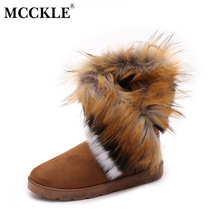 MCCKLE Ladies Faux Fur Warm Flat Shoes Tassels Edging Footwear Suede Women Snow Boots Sewing Slip-On Mid Calf Winter Boots