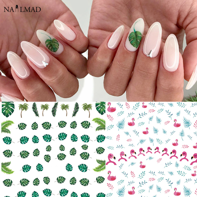 1sheet Tropical Plant Leaf Greenery Monstera Flamingo Nail Adhesive Sticker Nail Art Wrap Style Sheets