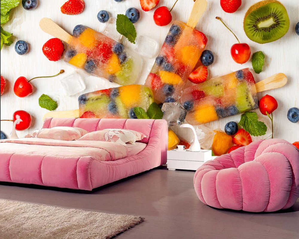 Sweets Eis Früchte Lebensmittel Fototapete Wohnzimmer Tv Hintergrund Wand Sofa Schlafzimmer Küche Restaurant 3d Wandbild Photo Wallpaper 3d Muraltv Background Aliexpress
