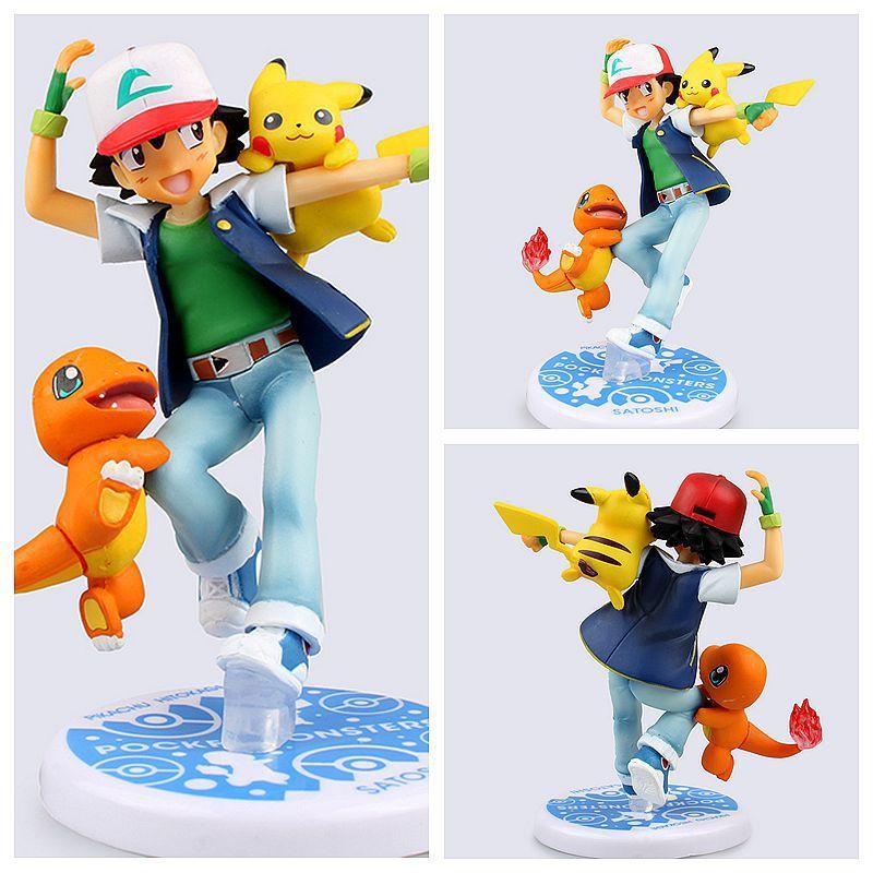 Newest Anime Anime  Ash Ketchum Pikachu PVC Action Figure Collectible Model Toy anime monsters ash ketchum pikachu pvc