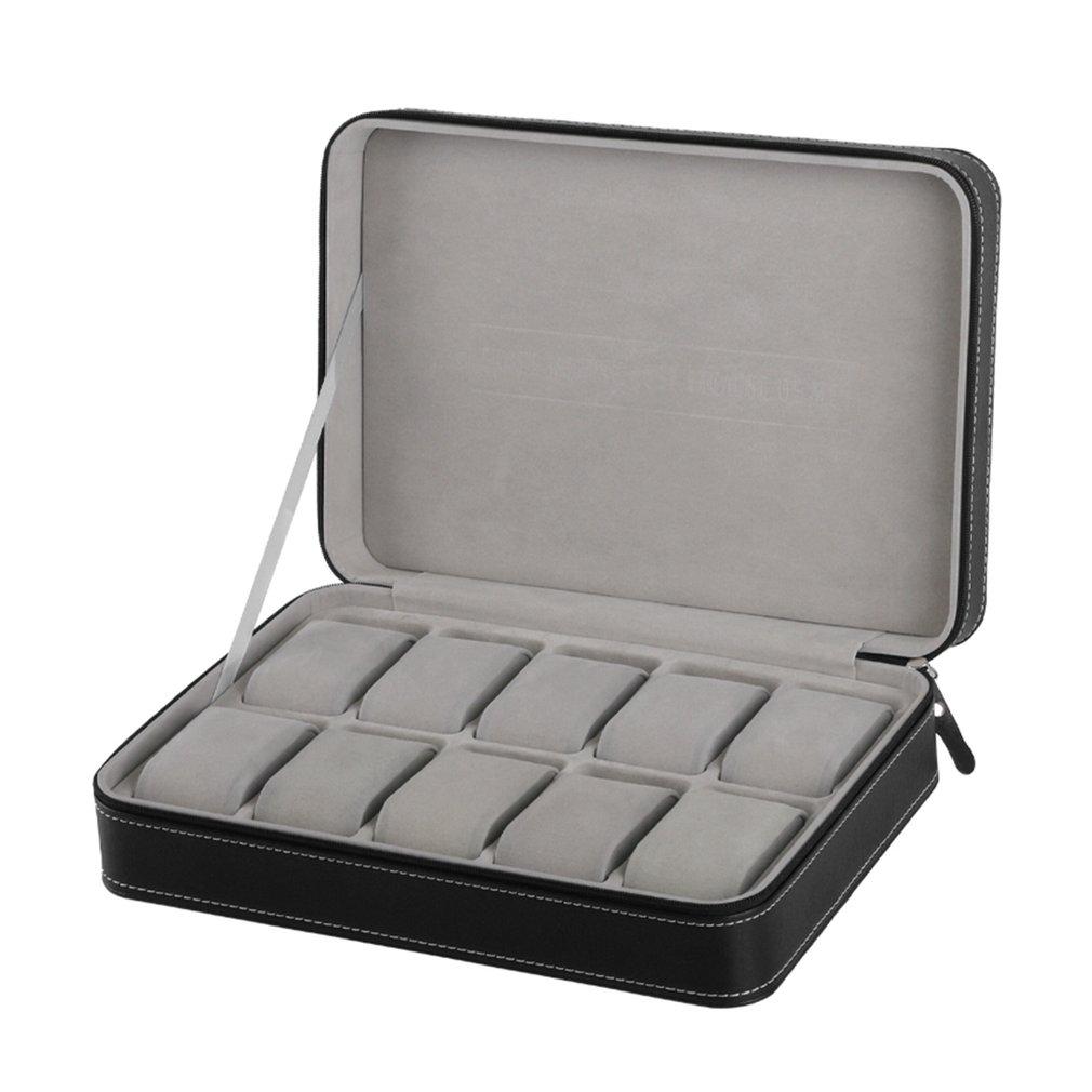 100% Wahr Spezielle Schützen 10 Grids Pu Leder Armbanduhr Box Fall Zipper Reise Uhr Schmuck Lagerung Tasche Box
