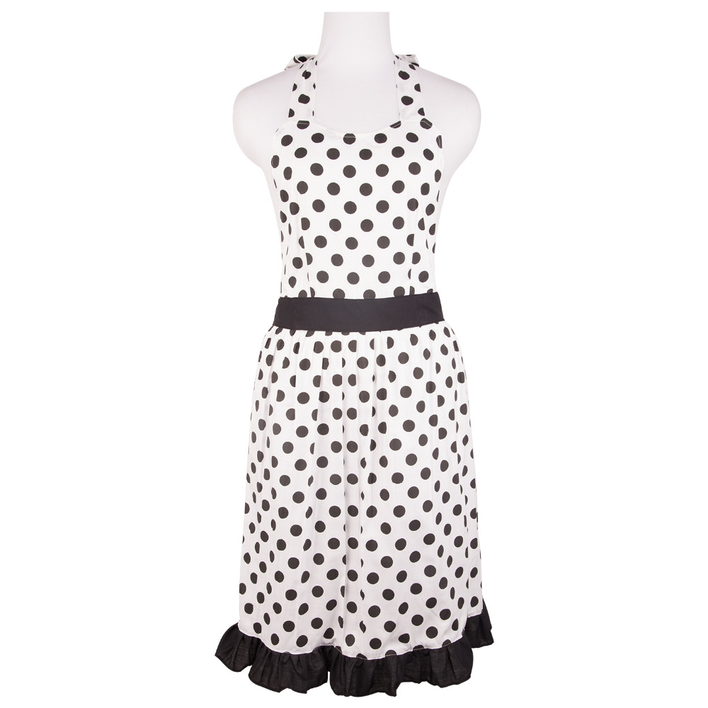 White apron cotton - Neoviva Cotton Dress Apron For Adult Women Plus Size With Lining Style Betty Polka