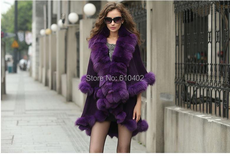 Violet Stretch manteau Réel Fox Bavures De Tissu cape châle Fourrure Poncho manteau IqwqPC4F