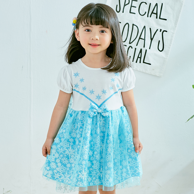 5175 Fairy Princess Snowflake Prints Party Girls Dress A line Sundress Kids Dresses For Girls Summer
