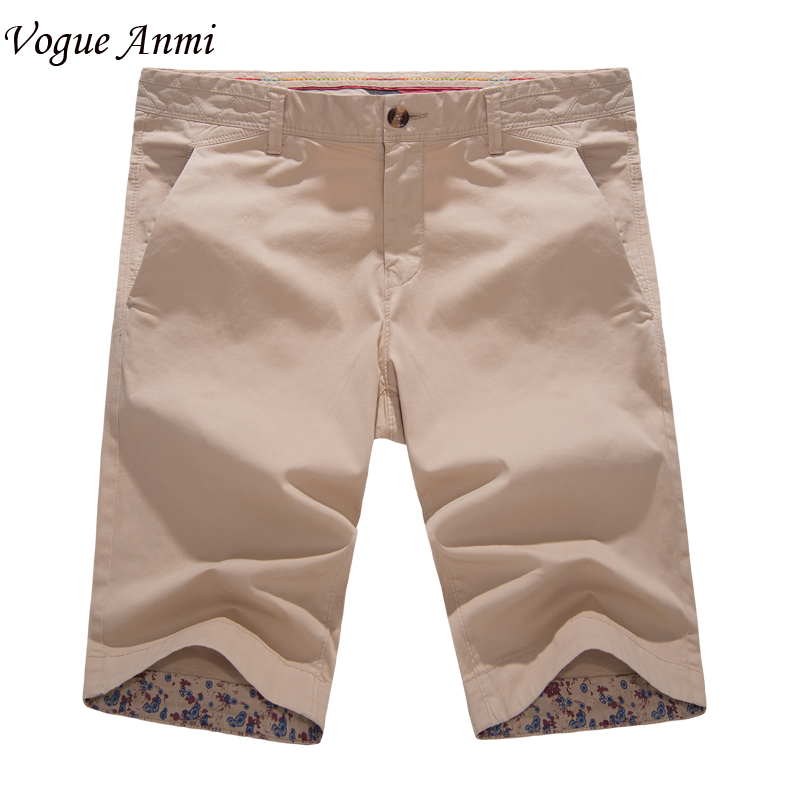 Vogue Anmi Brand Clothing Mens Shorts 2017 Summer Fashion Casual Solid Cotton Slim Fit Short Pants Plus Size Free Shipping