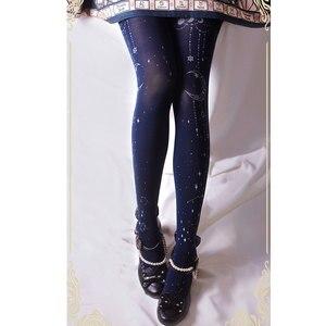 Image 5 - Meia calça estampada preta e lua, meia calça preta branca com estampa de estrela e lua, rabo ruby