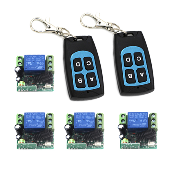 12V learning code wireless remote control switch 2pc 4-key remote control 4pc 12V 10A 1ch motor switch SKU: 5411 yt04 12v 4 channel remote switch 4 button remote control w learning code off white white