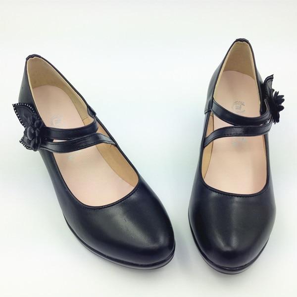 Mujeres negro zapatos de trabajo OL bombas de cuero genuino