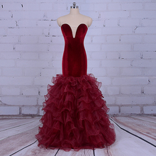Burgundy Long Prom Dresses Robe de soiree courte 2017 Elegant Women Mermaid Evening Gown Formal Long Party Dresses With Ruffles