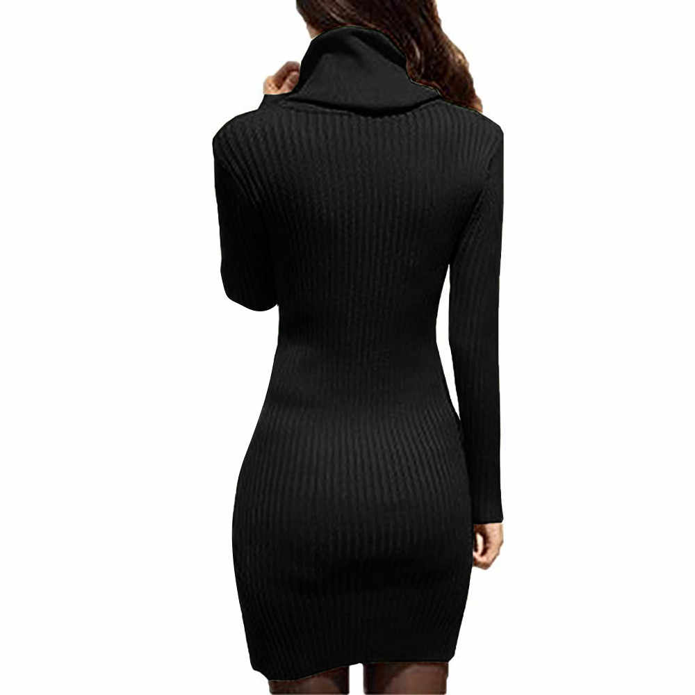 bf94f9cbedd ... Winter Dresses Women 2018 Cowl Neck Knit Stretchable Elasticity Long  Sleeve Slim Fit Sweater Dress ...