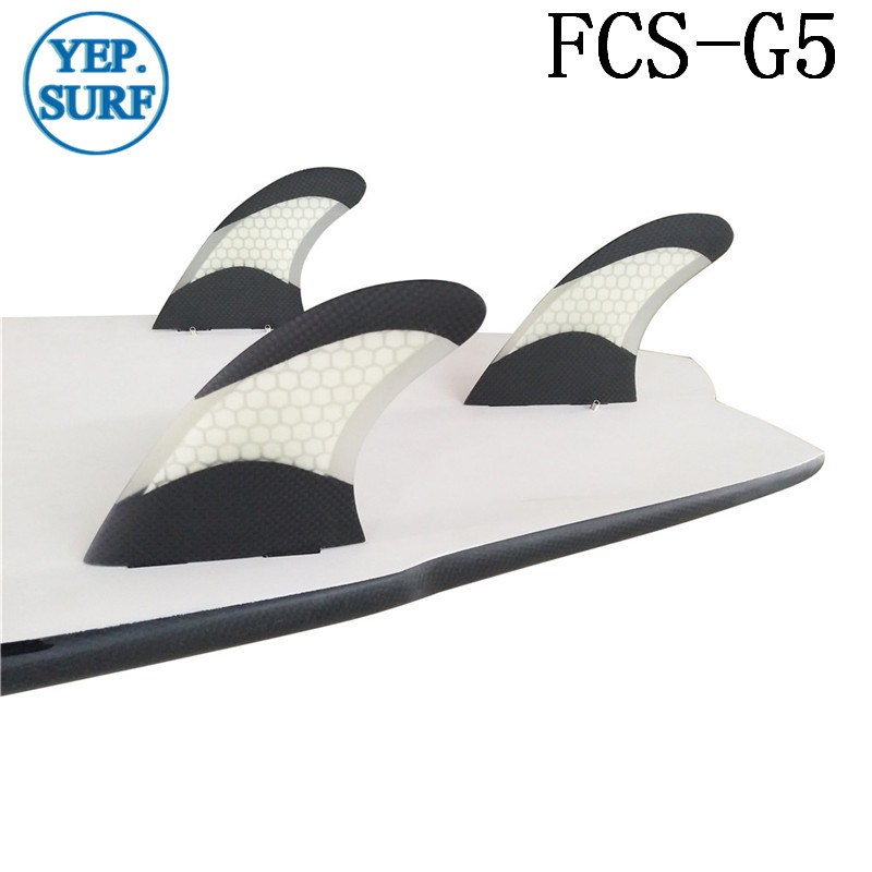 Surfboard Pranchas de Surf FCS G5 Fins White color Fiberglass Fins Honeycomb FCS Fins in Surfing in Surfing from Sports Entertainment