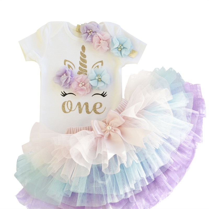 It's My Baby First 1st Birthday Unicorn Party Dress For Girl Colorful Unicorn Headband Outfits Newborn Tutu Babes Puffy Vestidos
