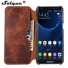 Promo Solque Real Genuine Leather Flip Cover Case For Samsung Galaxy S8 Plus S 8 Cell Phone Luxury Retro Vintage Leather Wallet Cases