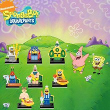 Legoing Duplo Anime Cartoon Spongebob Christmas Gifts Building Block Toys For Children Compatible With Legoings Duplo Baby Gift(China)