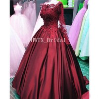 Burgundy Ball Gown Quinceanera Dresses Vintage Lace Beaded Long Sleeve Sweet 16 Dress Girls 2019 Floor Length Pageant Prom Gowns