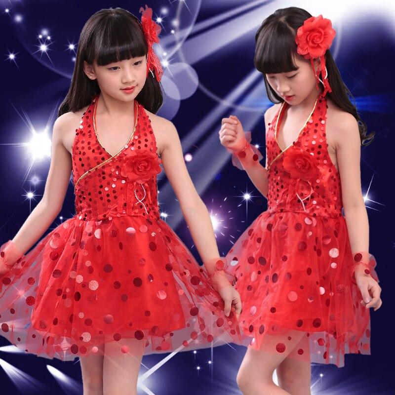 Блестящими Пайетками современный танец костюмы, сценическая одежда для детей, платье для сцены и танцев, Одежда для танцев для девочек - Цвет: Красный
