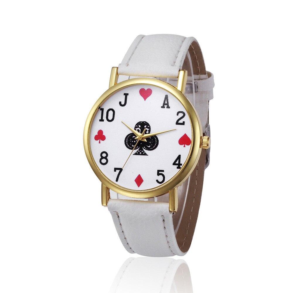 New Fashion Trend Watch Leather Strap Poker Print Round Dial Ladies Watch Clock Womens Leisure Dress Quartz Wristwatch Gift #B