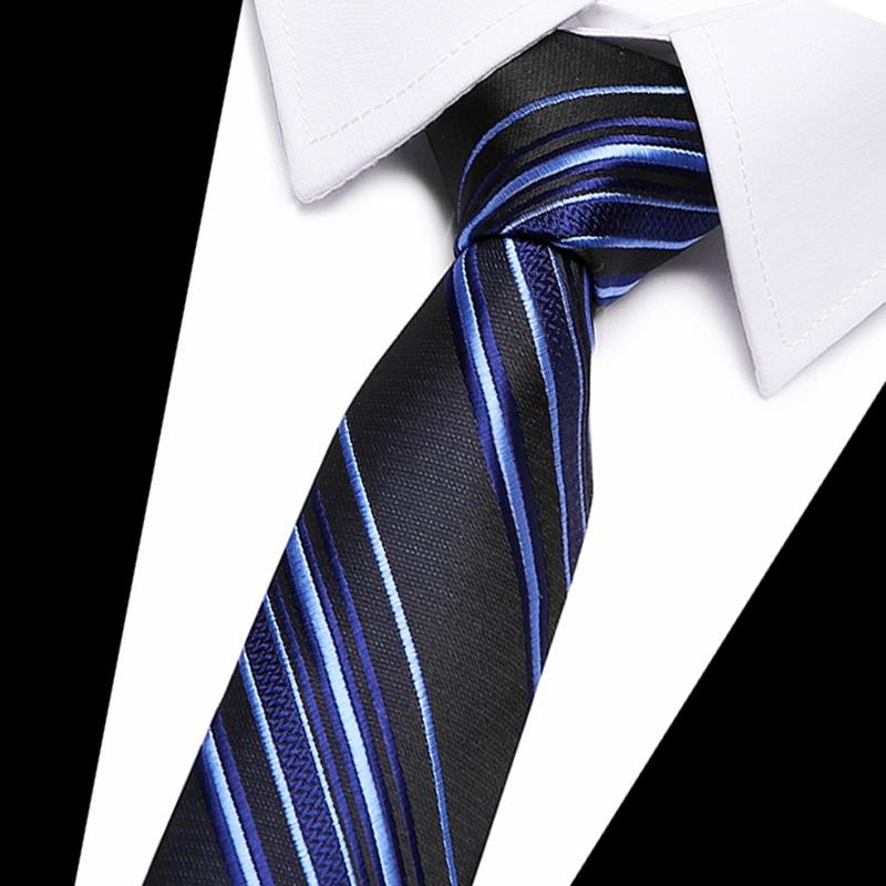 New Blue Striped Tie For Men Extra Long Size 145cm*8cm Necktie Paisley Silk Jacquard Woven Neck Tie Suit Wedding Party