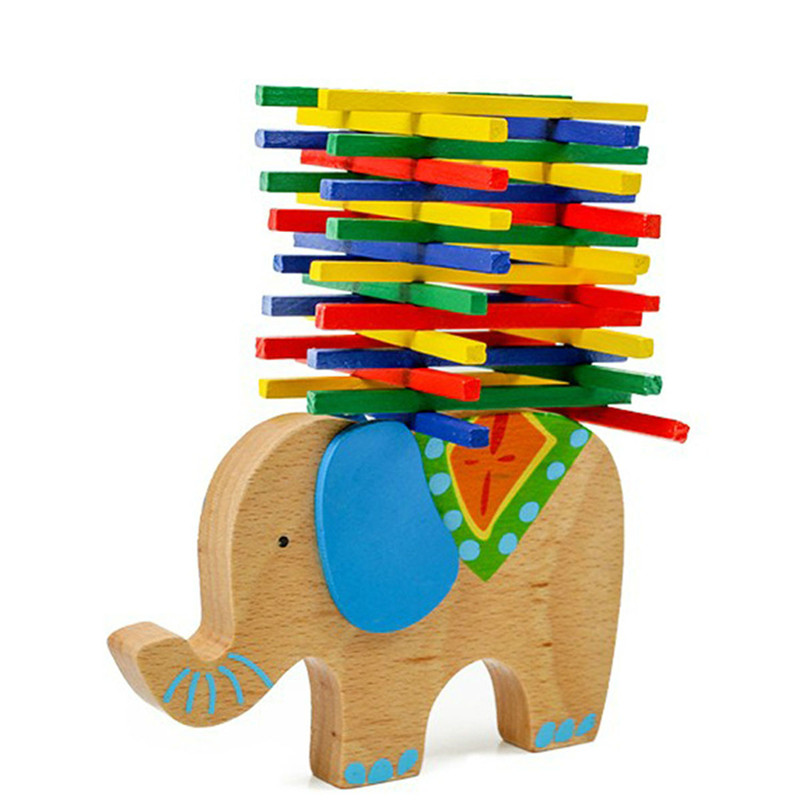 Beech Wood Balance Game Montessori Blocks Gift Baby Toys Educational Elephant/Camel Balancing Blocks Wooden Toys For Child 14 piece per set montessori baby educational wooden geometry shape wood building blocks teaching toys
