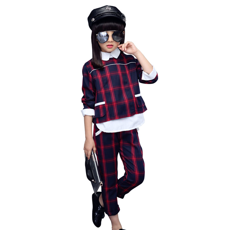 Girls Clothing Set Children Plaid Tracksuit 2018 Spring Kids Casual Sport Suit 2Pcs Coat+Pants Girls Clothes For 4 6 8 10 12 Y retail 2pcs brand new design girls clothing sets for kids autumn tracksuit for girls velvet jacket pants children sport suit