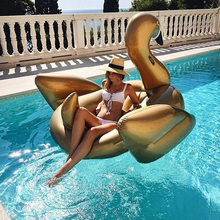 190x190cm inflatable swimming pool toys gold swan swim ring pools adult kids baby toys large animal swimming pools
