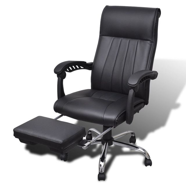 Vidaxl Black Artificial Leather Office Chair With Adjule Footrest