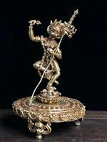 7 ''старинный Тибетский Бронзовый Золотой резной череп ожерелье тибетская статуя Будды