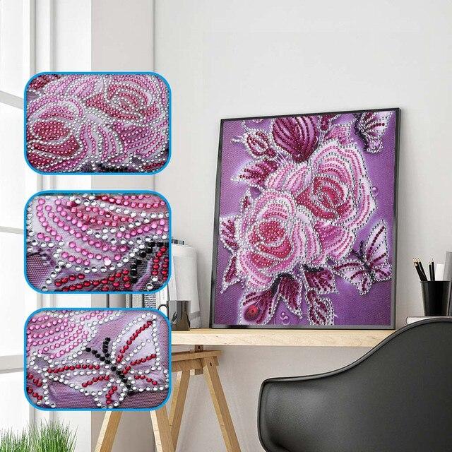 צבעוני פרח דפוס מיוחד בצורת יהלומי ציור DIY 5D חלקי תרגיל צלב סטיץ ערכות קריסטל ריינסטון תמונה אמנויות
